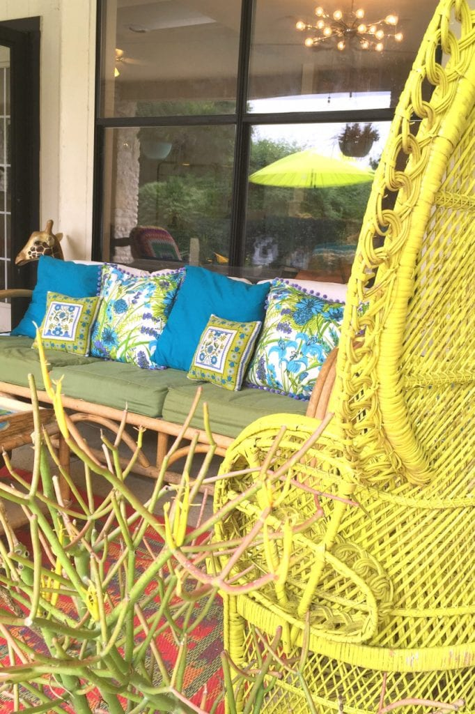 Patio decorated with no sew pillows in groovy patterns