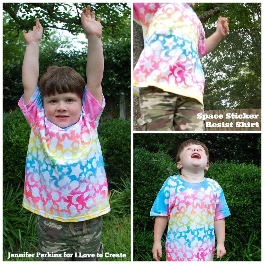 How to make a space shirt with stickers.