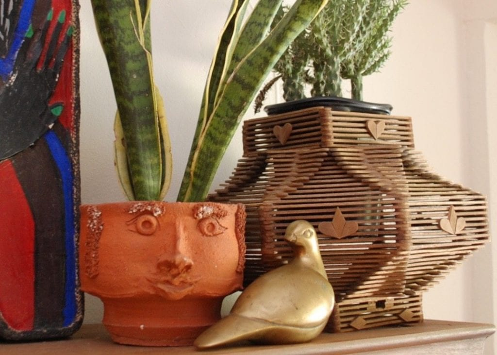 Tramp art vase