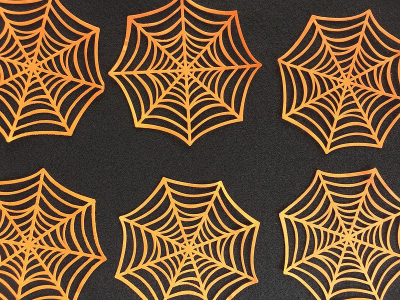 Place spider webs onto felt as stencils for ornaments.