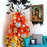 How to decorate a candy corn tree for Halloween.