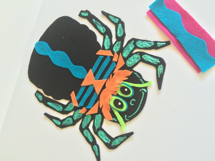 parts of a felt Halloween spider appliqué