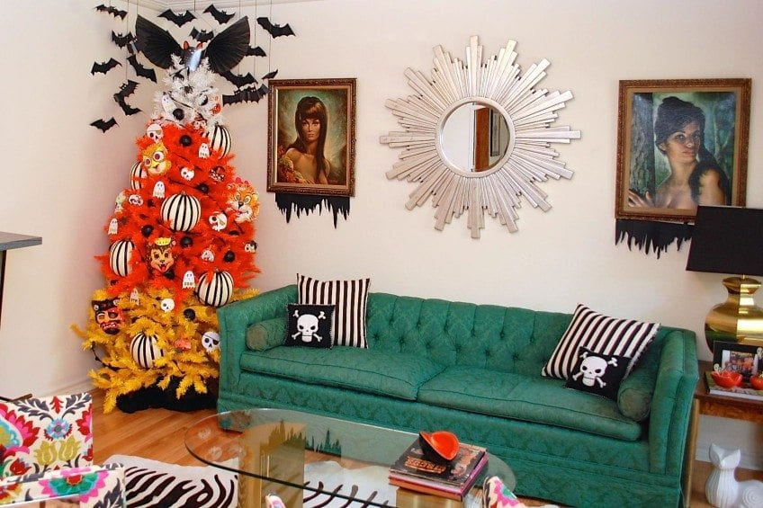Mid Century Room Decorated for Halloween