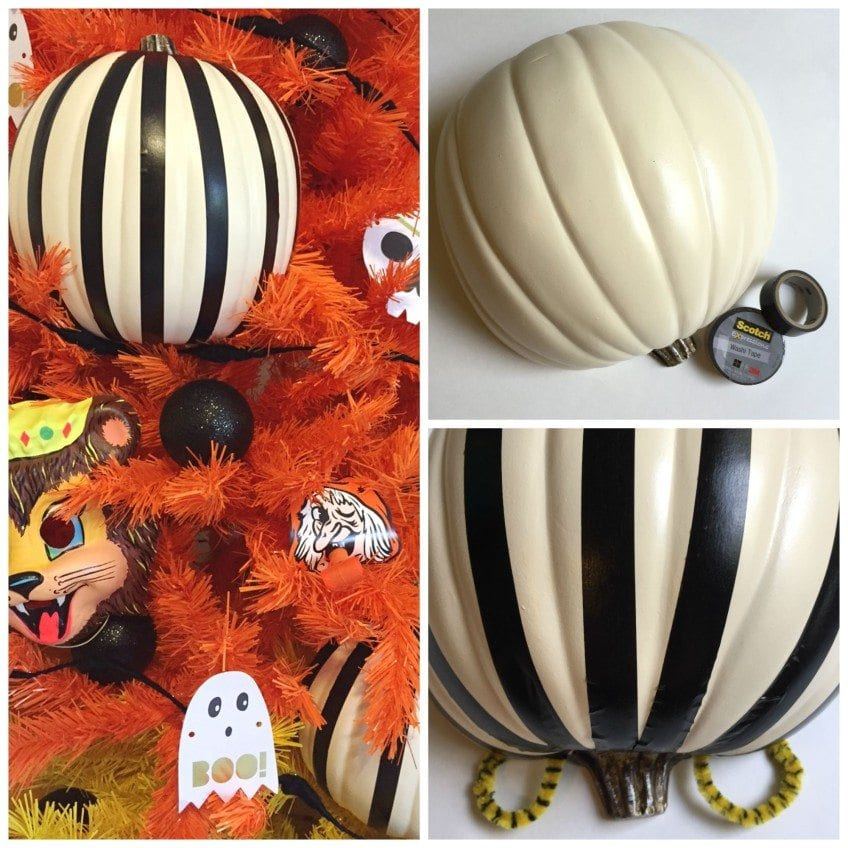 How to stripe pumpkins for a Halloween tree.