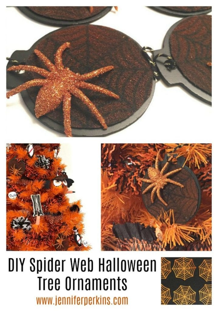 Easy stenciled felt spider web ornaments for Halloween by Jennifer Perkins