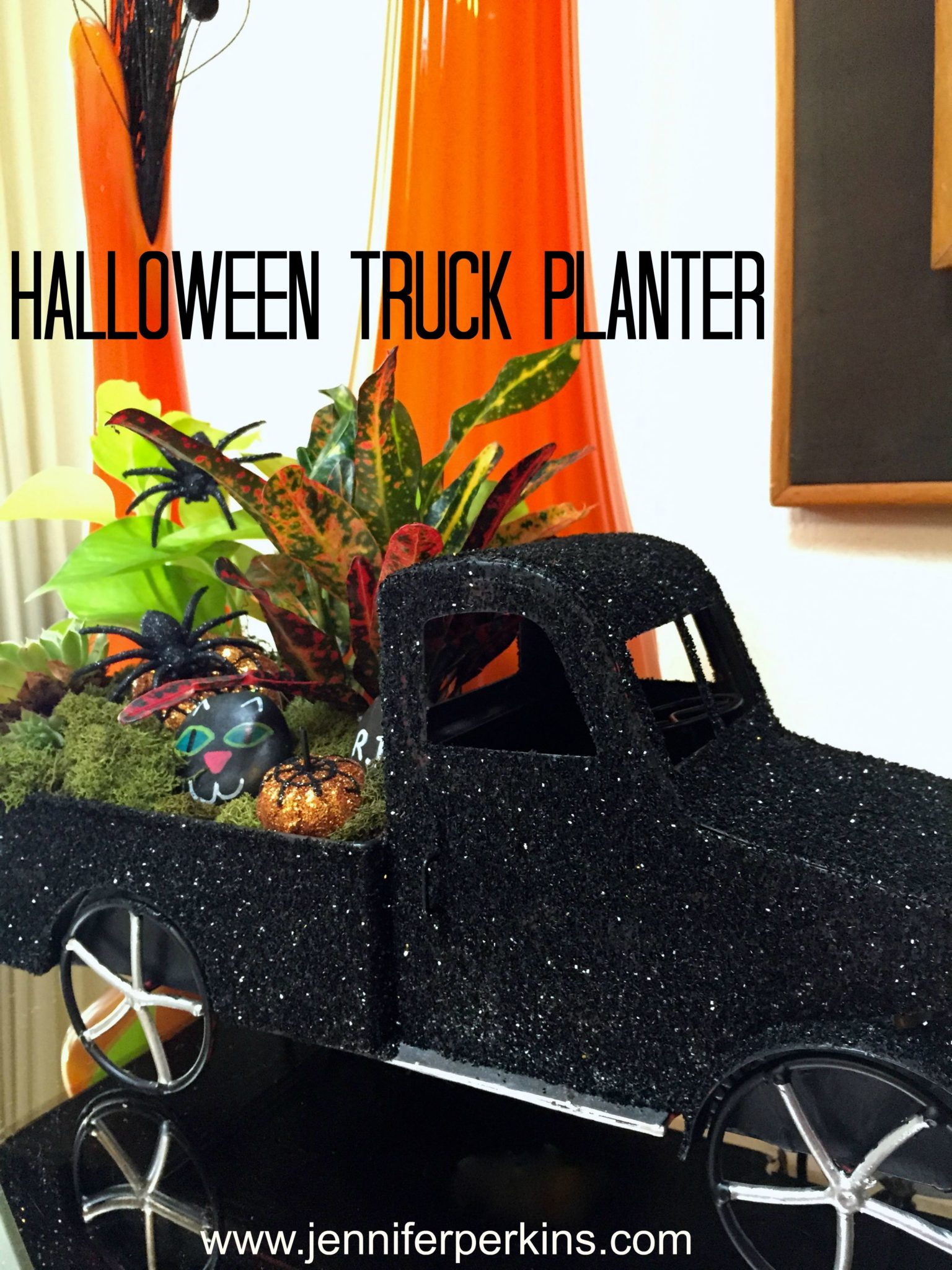 Turning a toy truck into a Halloween planter.