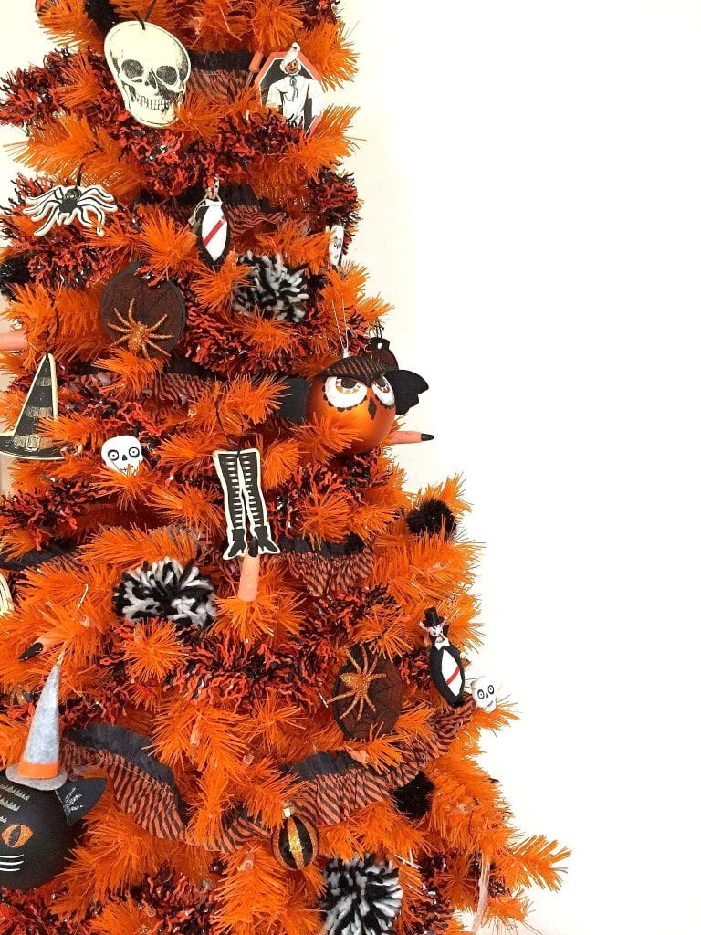 DIY spider ornaments for an orange Halloween tree by Jennifer Perkins