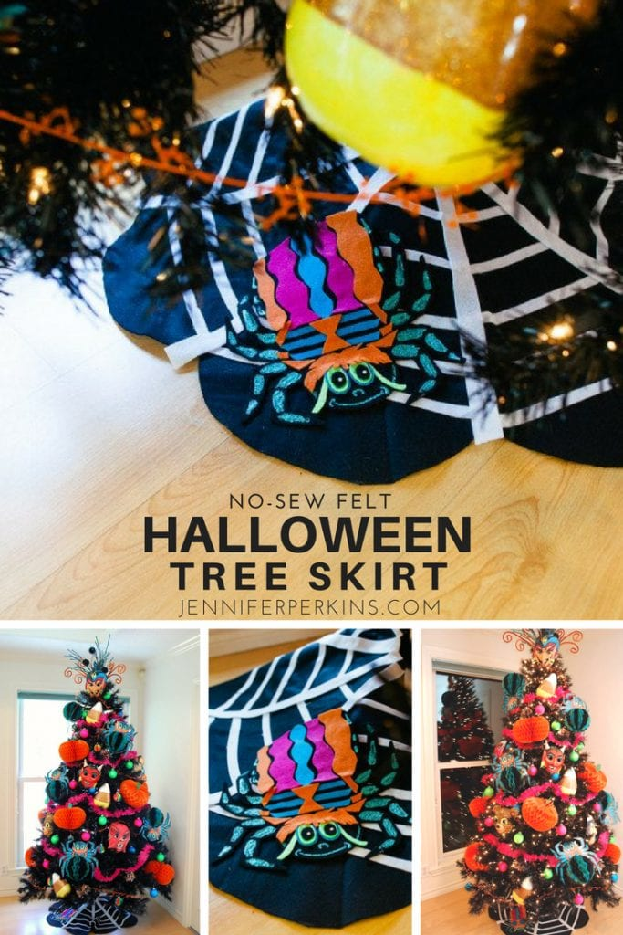 Felt tree skirt for a Halloween tree with a spider appliqué