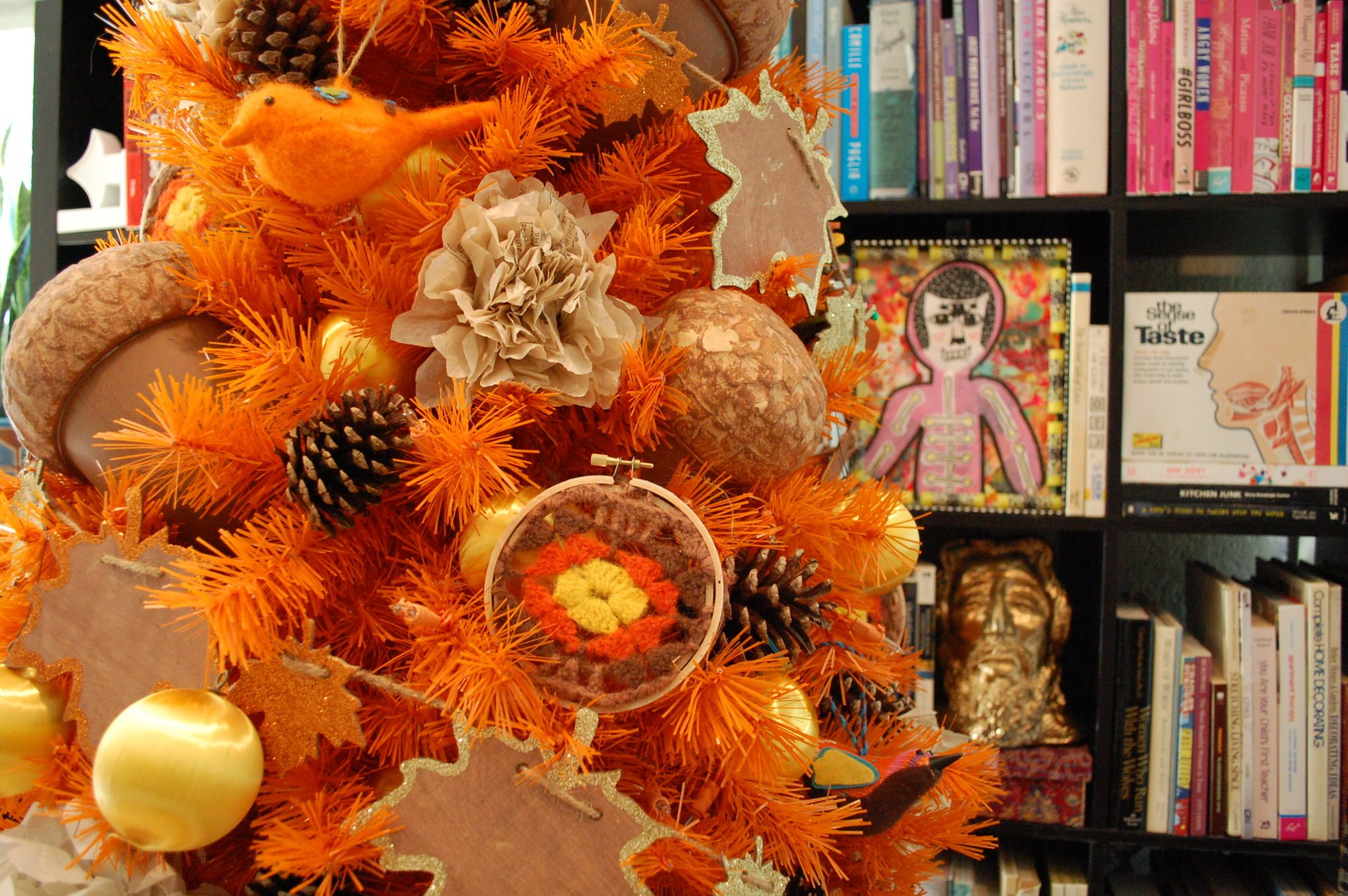 orange fall tree with pinecones and granny squares