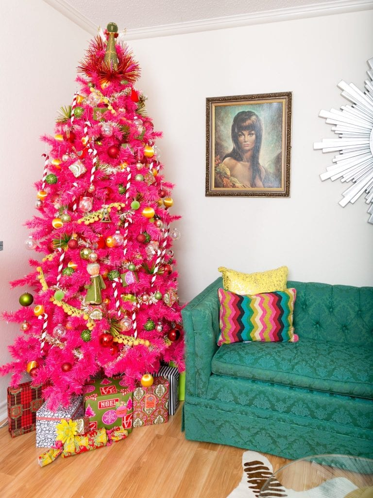 coordinating your wrapping paper with your pink christmas tree