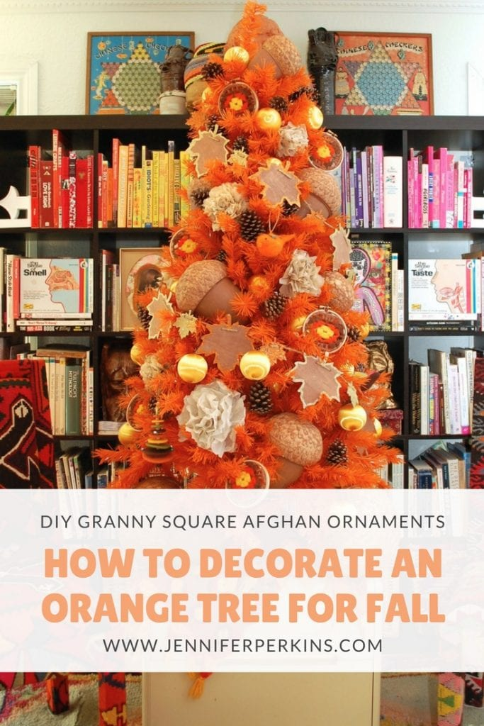 How to decorate an orange Christmas tree for Thanksgiving and fall complete with DIY vintage granny square crocheted afghan ornaments by Jennifer Perkins