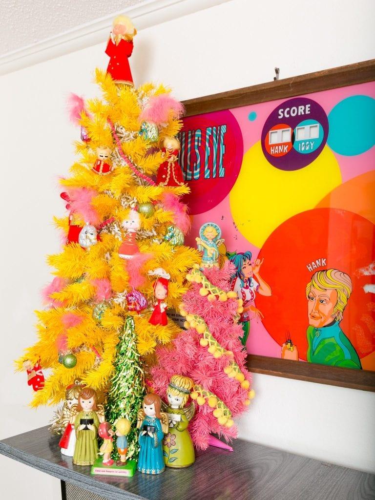 60's Inspired yellow Christmas tree.