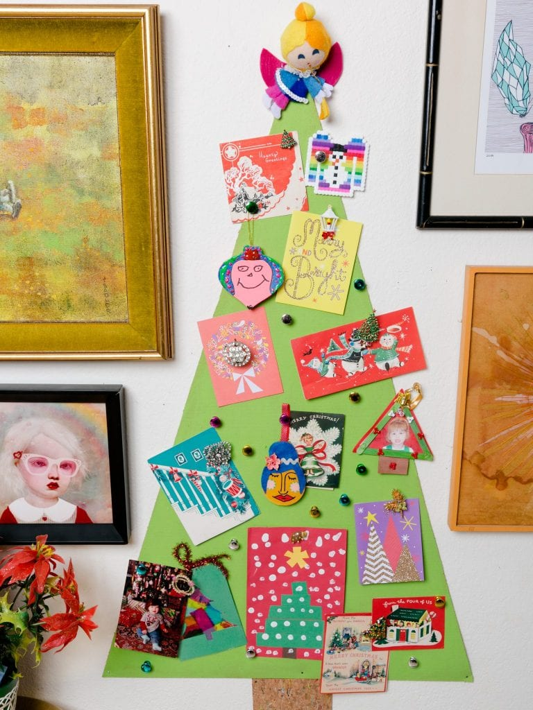How to make a Christmas tree bulletin board to display your cards.
