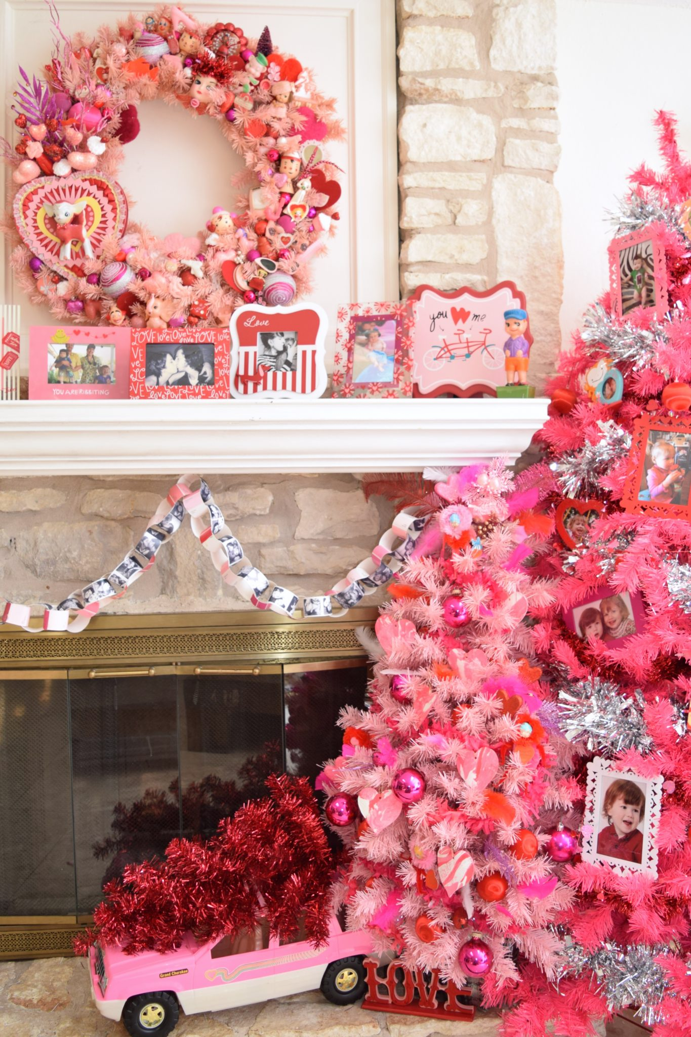 Decorated pink Valentine's Day trees.