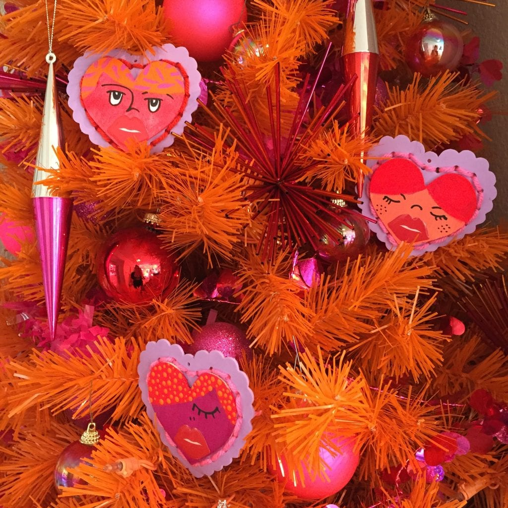 Orange Christmas tree decorated for Valentine's Day by Jennifer Perkins
