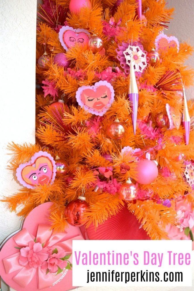 How to decorate an orange Christmas tree for Valentine's Day - Jennifer Perkins