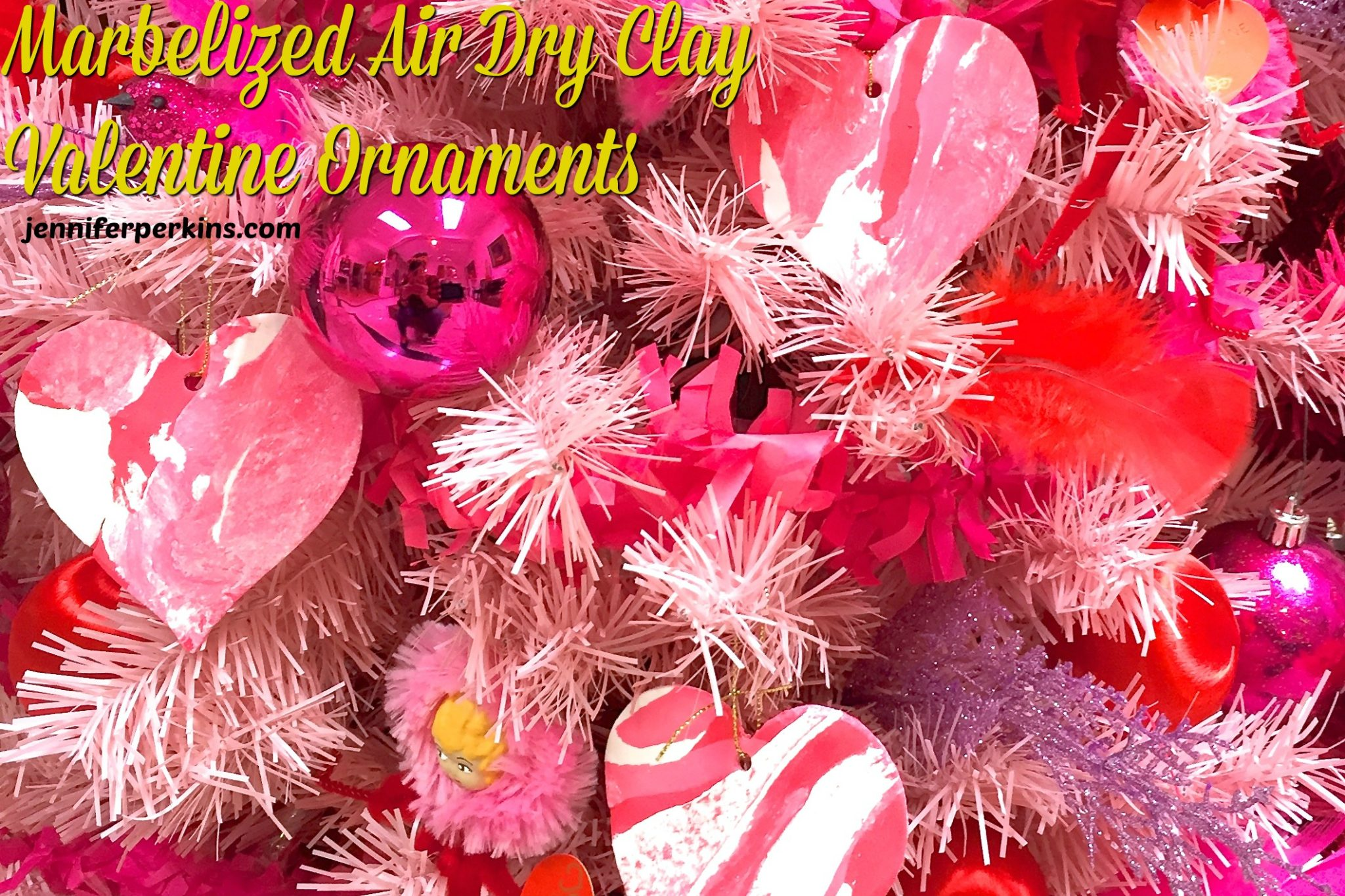 Easy Air Dry Clay Valentine Ornaments