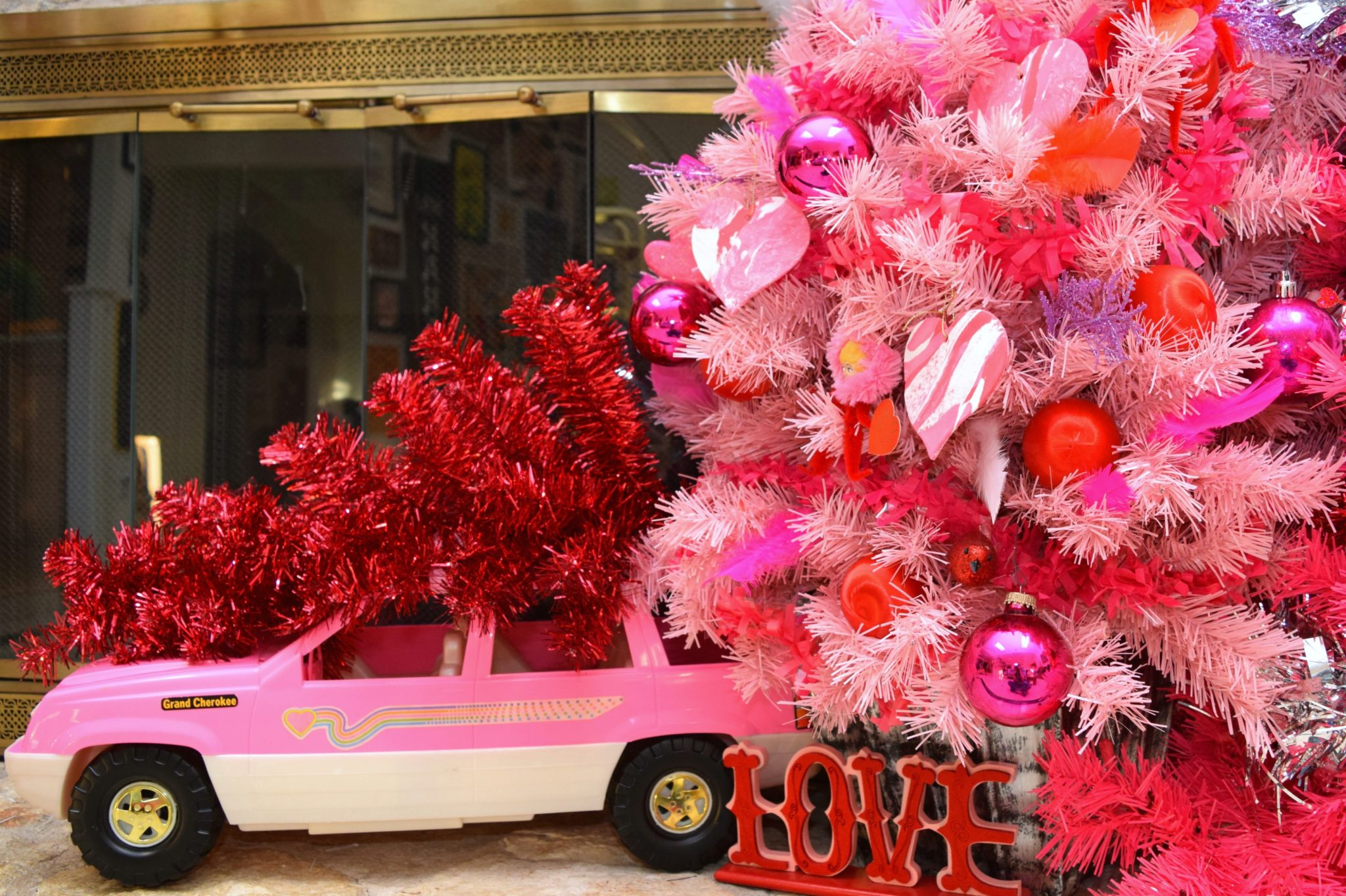 A forest full of kitschy Valentine's Day trees (complete with DIY heart ornaments) by Jennifer Perkins