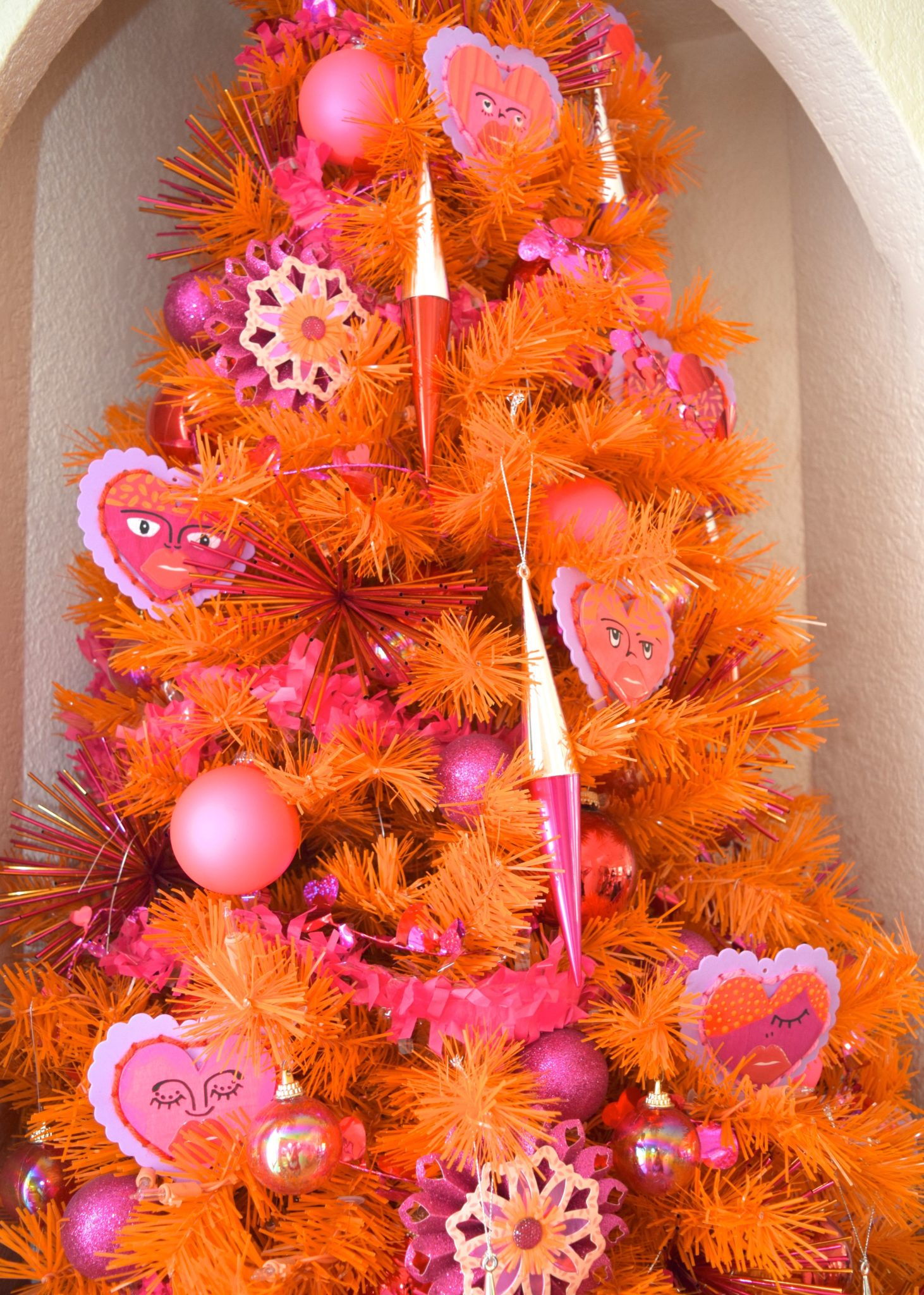 Decorating an orange tree for Valentine's Day by Jennifer Perkins