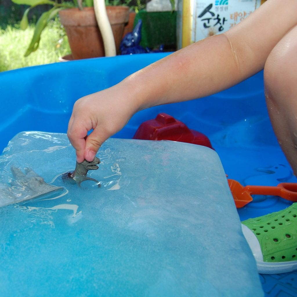Excavating dinosaurs from ice.