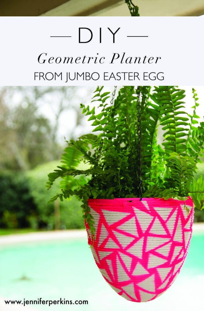 DIY Geometric Planter Made from a Jumbo Easter Egg.