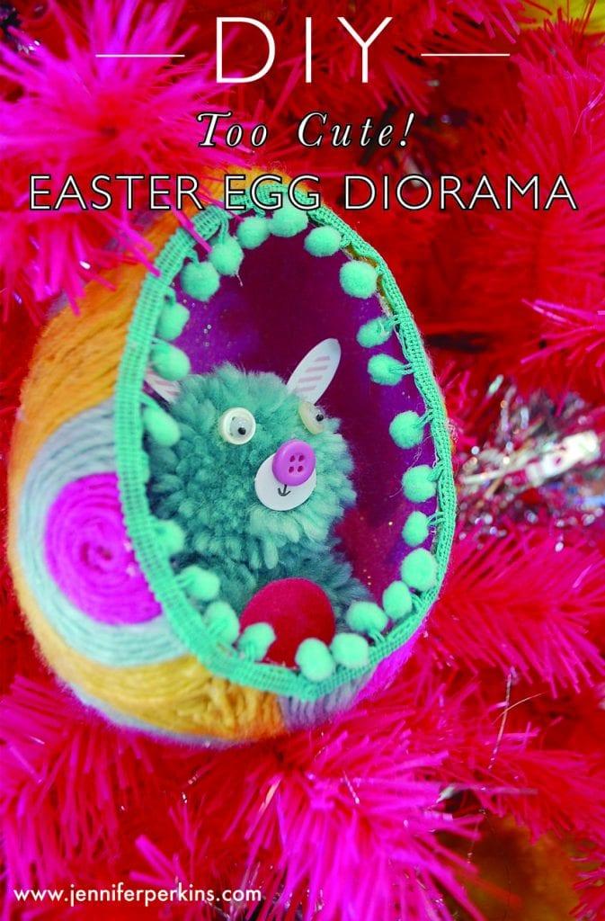 Yarn Covered Kitschy Easter Egg Diorama.