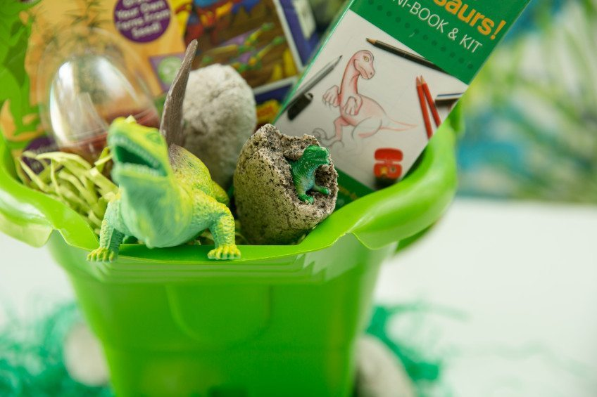 Ideas for a dinosaur themed Easter basket.