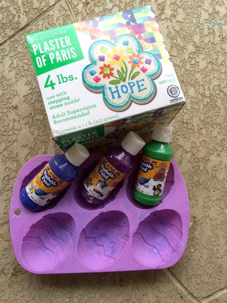 Supplies to make chalk shaped Easter eggs.