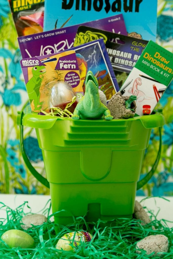 Dinosaur themed Easter baskets.