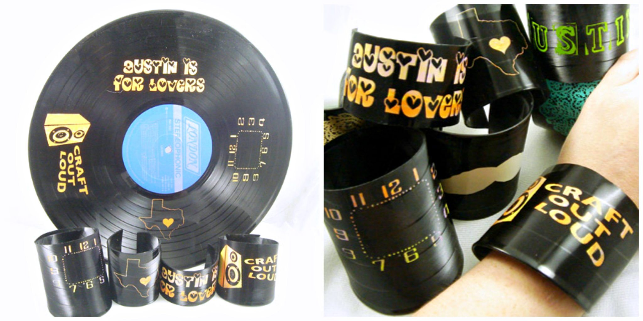 How to make vinyl record bracelets.