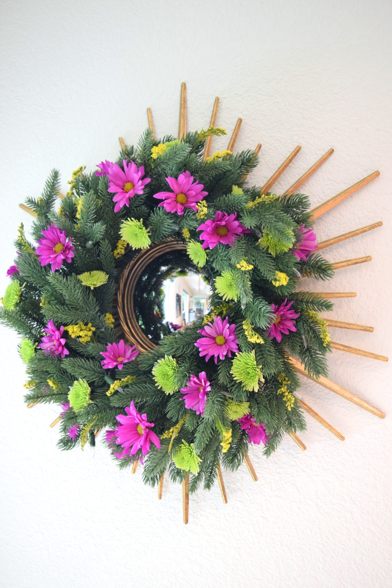 DIY wreath with living flowers.