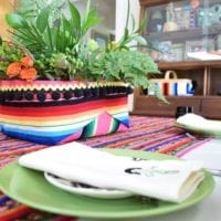 Serape covered basket centerpiece