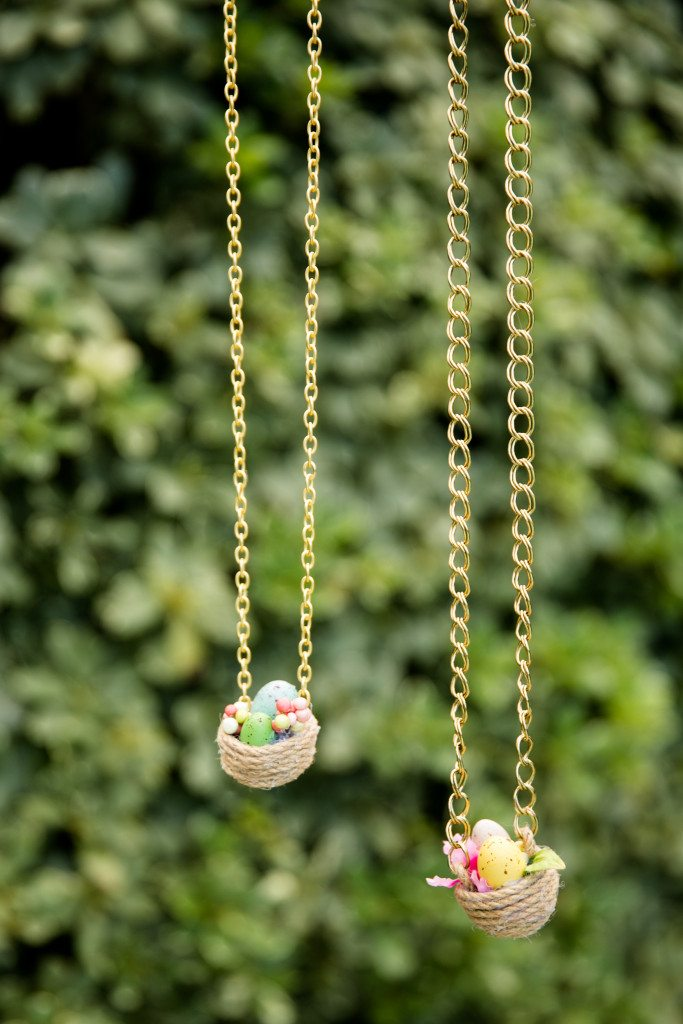 How to make a nest necklace from a plastic Easter egg.