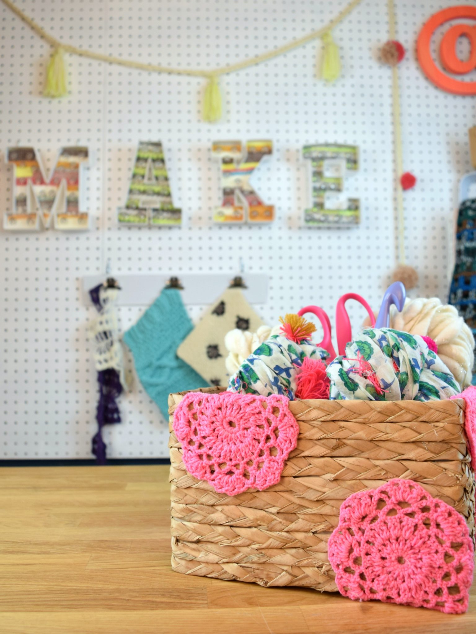 Adding doilies to a plain basket.