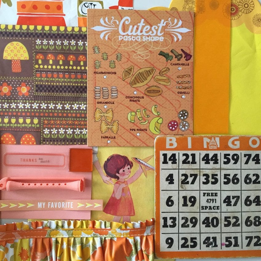 Orange collage paper for Junk Journals.