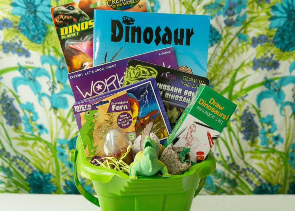 Dinosaur themed Easter basket.