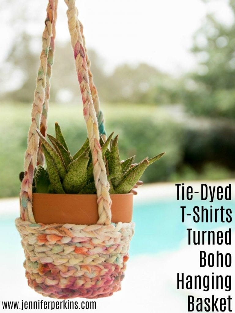 How to make a hanging basket planter from an old T-shirt by Jennifer Perkins