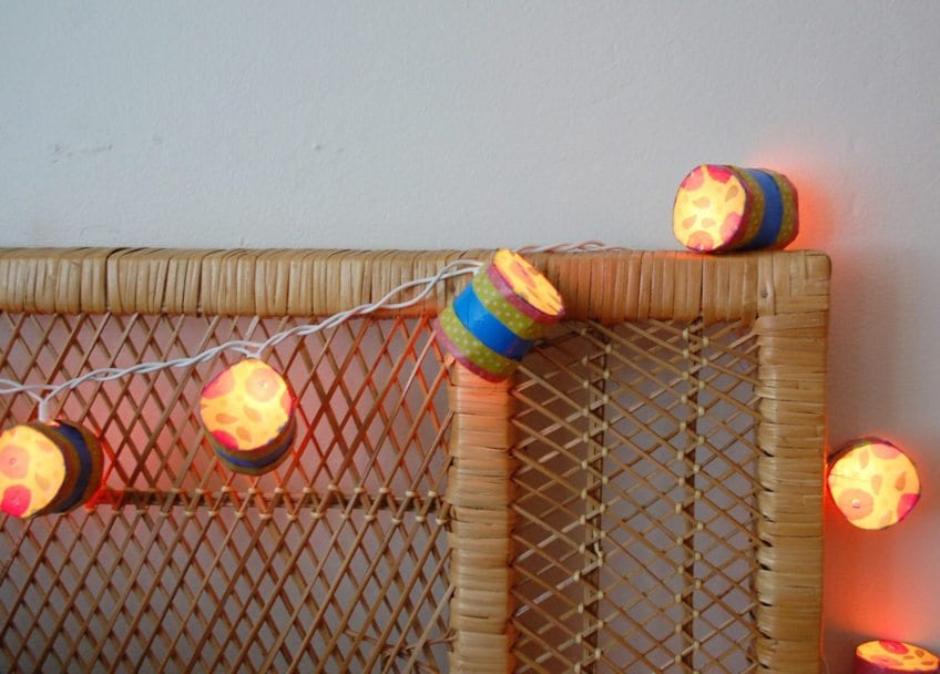 DIY recycled string lights from toilet paper rolls.