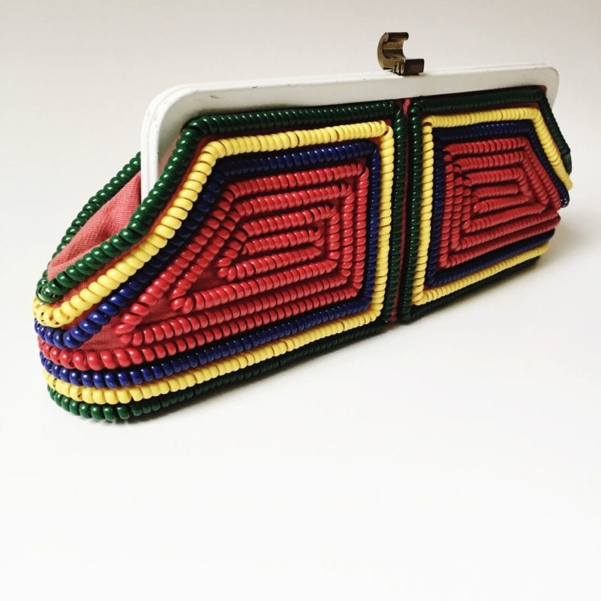 Vintage Telephone Cord purse in rainbow of colors.