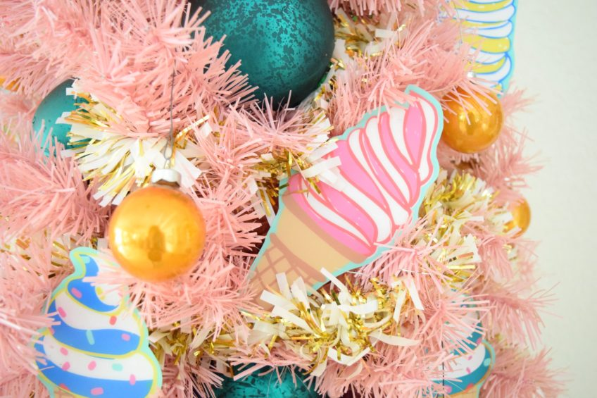 Decorating a pink tree with an ice cream theme,