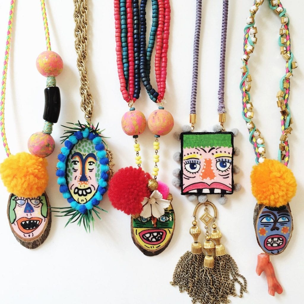 Hand painted jewelry by Jennifer Perkins.