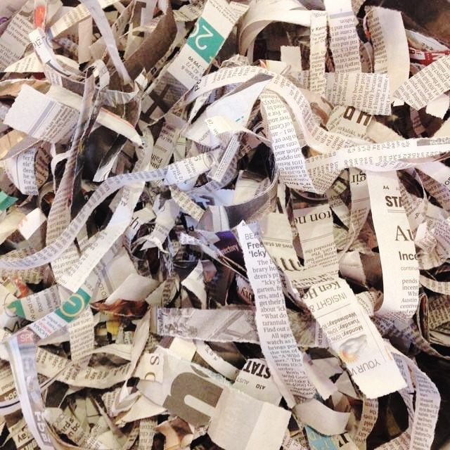 Shredded Newspaper for paper mache bowls
