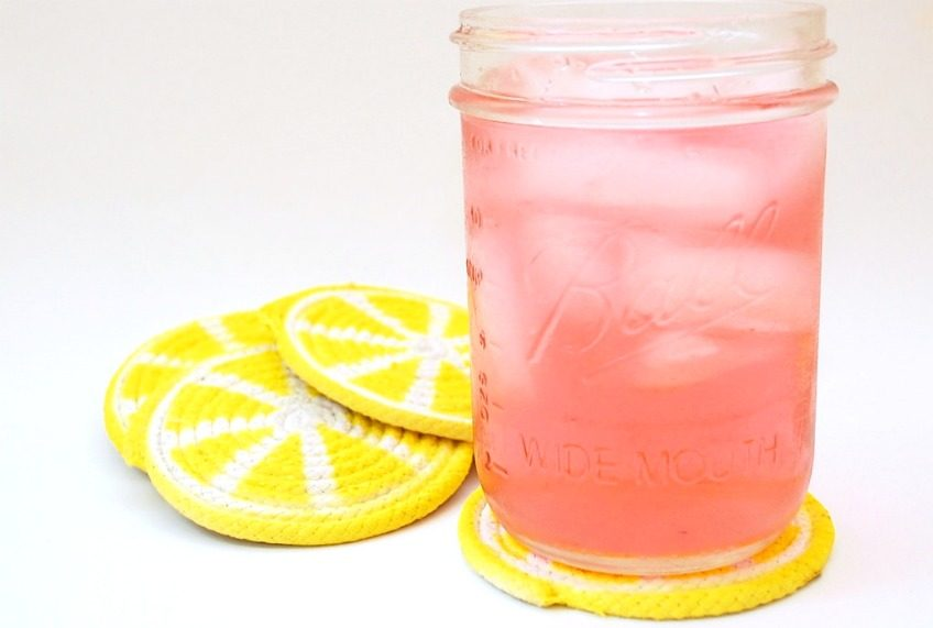 Easy DIY lemon slice coasters.