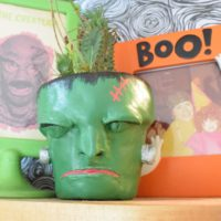 Self hardening clay Frankenstein planter