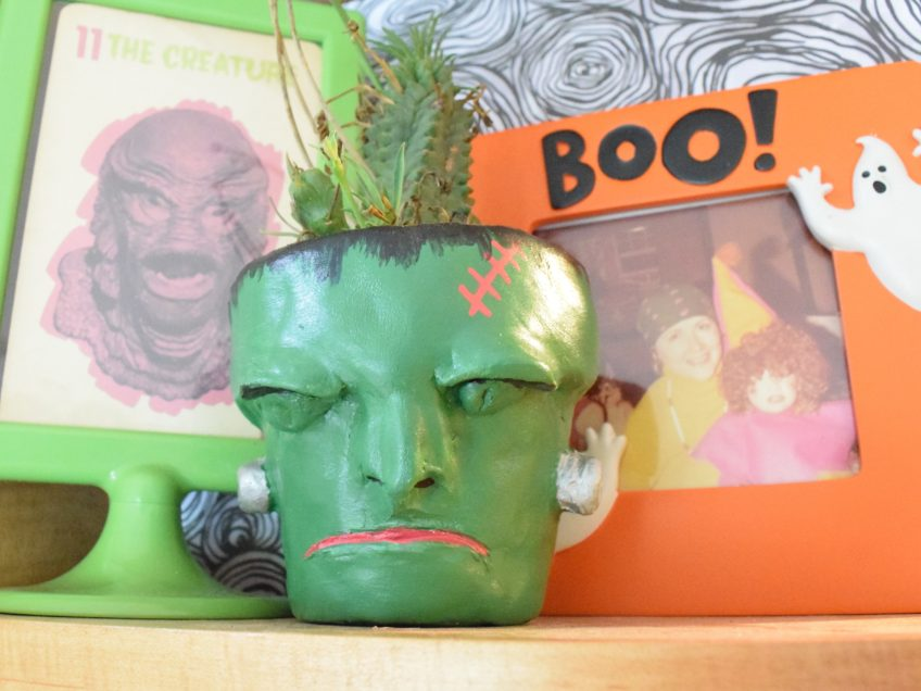 How to make an air dry Frankenstein Halloween planter