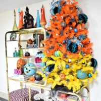 Candy corn colored Halloween tree by Jennifer Perkins
