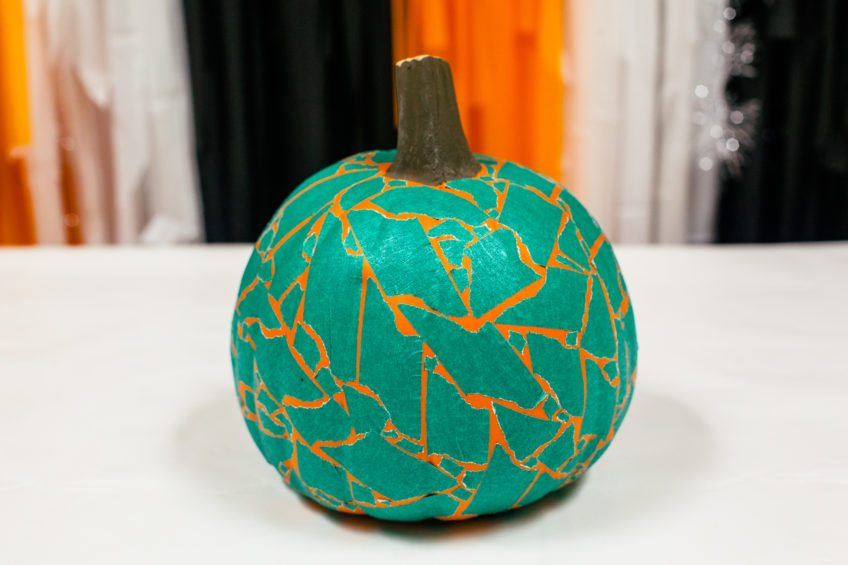 Teal pumpkin project with washi tape.