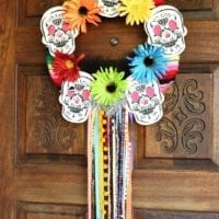 Stenciled Day of the Dead wreath by Jennifer Perkins for DIY Network