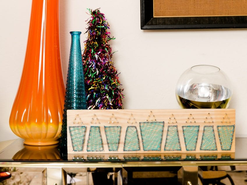 DIY string art menorah