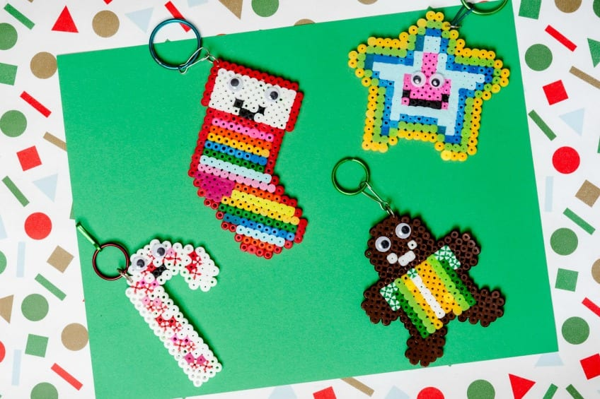 DIY Perler bead Christmas key chains by Jennifer Perkins